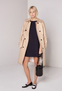 Claudie Pierlot   Dress RICHA   Navy   3/4 Sleeve   Trenchcoat   Camel