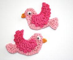 Crochet Bird Applique Tutorial ༺✿ƬⱤღ  http://www.pinterest.com/teretegui/✿༻