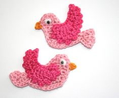 Crochet Bird Applique Tutorial ༺✿ƬⱤღ  http://www.pinterest.com/teretegui/✿༻