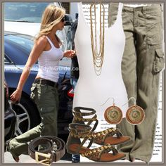 Jen, you  a l w a y s  get it right. Perfect weekend look; white tank, vintage leather belt, rockin' cargo's and leather flip flops
