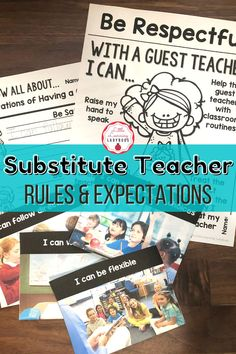 Teach your students the expectations for having a guest teacher. Editable to match your school's PBIS rules. Encourage students to be flexible, kind, and helpful when there's a substitute teacher. Posters, student pages, and real life pictures included. #backtoschool #classroommanagement #guestteacher Teacher Posters, Classroom Expectations, Substitute Teacher, Positive Behavior, Life Pictures, Classroom Management, Lesson Plans, Flexibility, Back To School