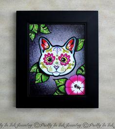 Day of the Dead White Kitty Cat Sugar Skull Art Print by PrettyInInkJewelry, $14.95