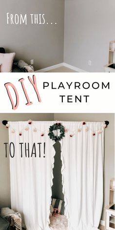 kids room diy Arent those little playroom tent teepees just ADORABLE. but not necessarily something that would work in your space Check out this cute AND easy DIY playroom tent - perfect for little girls. Playroom Decor, Bedroom Decor, Playroom Organization, Playroom Design, Boys Playroom Ideas, Playroom Curtains, Tent Bedroom, Family Room Playroom, Diy Home Decor Bedroom Girl