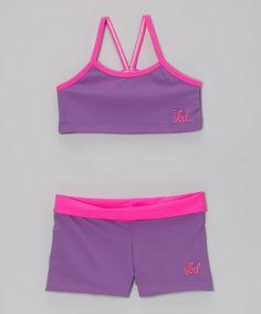 Loving this Purple & Hot Pink Sports Bra & Shorts - Toddler & Girls on #zulily! #zulilyfinds