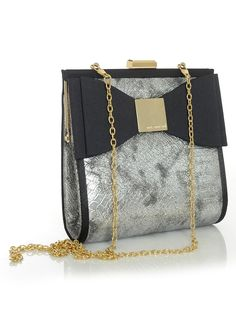 Silver Snakeprint Inspired Bow Handbag with Gold Accents