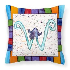 Carolines Treasures Letter W with Sunflower Starfish Outdoor Pillow - 8446-WPW1414