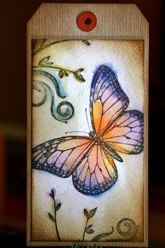 DIY gift tag - love the butterfly motif! Watercolor and StazOn tag.