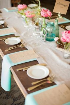 Turquoise Wedding > Tablescapes #892234 - Weddbook