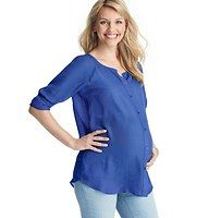 Maternity Sheer Drapey Button Down Blouse - Crafted in irresistibly silky voile (and flaunting a face framing neckline), this sheer style is all about effortless pretty. Add a cami beneath for more coverage. Scoop neck. Long raglan sleeves. Button front. Roll cuffs.