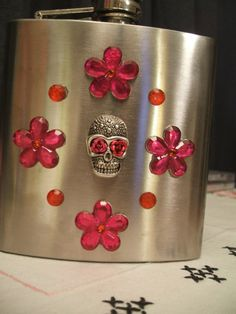 Stainless Steel Flask w/ Sugar Skulls and Pink by CasaCalavera, $24.00