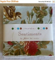 """50% OFF SALE Cotton Fabric, Quilt, Craft, Charm Pack, 5"""" squares, Sentiments by 3 Sisters for Moda, Fast Shipping, CP123"""