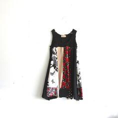 black Panel Dress / romantic Upcycled clothing / Patchwork dress by CreoleSha, $92.00