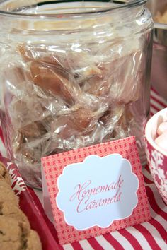 Homemade caramels display