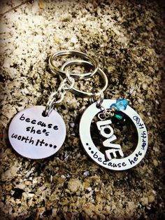 His and Hers Because she's worth it Hand by CharmletteDesigns, $34.00