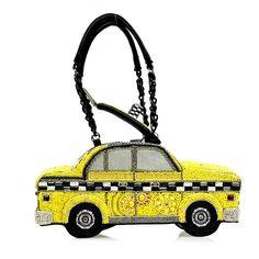 Mary Frances Taxi Car Yellow Black Auto Beaded Bead Multi Bag Purse Handbag NEW #MaryFrances #EveningBag Unique Handbags, Purses And Handbags, Mary Frances Handbags, Beaded Bags, Yellow Black, Taxi, Shoulder Handbags, Evening Bags, Bag Making