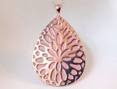 Misfit Shine and Flash Pendant / Necklace - Rose Gold tone & light pink leather