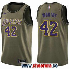 cfd6da6b6 Men s Nike Los Angeles Lakers  42 James Worthy Green Salute to Service NBA Swingman  Jersey