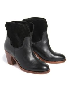 H By Hudson Brock Leather & Suede Ankle Boots - Black