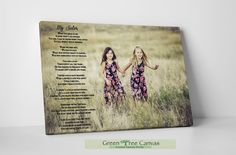 Sister Poems, Mom Poems, Sister Gifts, Sister Quotes, Daughter Quotes, Father Daughter, Family Quotes, Tree Canvas, Canvas Wall Art