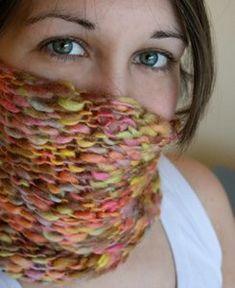 Taffy Twist Cowl Chunky #5 yarn Easy
