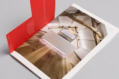 Catalogue design with die cut and coloured paper detail for flooring specialist Skovin by Heydays.