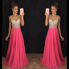 Prom Dresses,Prom Dress,V-Neck Glamorous Chiffon Sleeveless A-Line Crystal