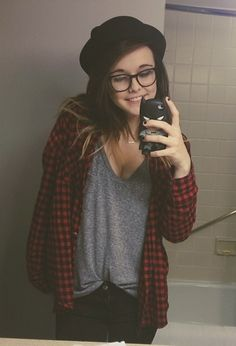 I love the hat and the dark red flannel with the grey tshirt underneath