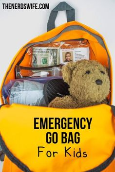 Excellent idea to show what to do to our children during any emergency. Emergency Go Bag for Kids Emergency Go Bag, 72 Hour Emergency Kit, Emergency Backpack, Emergency Binder, Emergency Preparedness Kit, Family Emergency, Emergency Preparation, Survival Prepping, Survival Skills