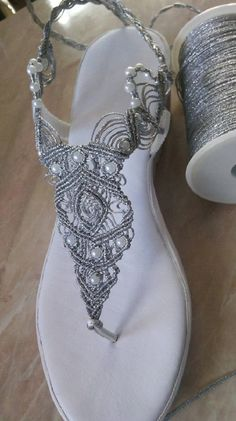 Women's Wedding Shoes, Macrame and Leather Sandals, Bohemian Sandals, Handmade silver and gold Sandals, macramé Sandals MODEL: GOLDY Gold Sandals, Bare Foot Sandals, Leather Sandals, Crochet Shoes Pattern, Shoe Pattern, Crochet Sandals, Crochet Slippers, Stylo Shoes, Bling Flip Flops