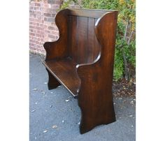 Rustic Oak Pew Traditional Benches, Traditional Furniture, Bench Furniture, Outdoor Furniture, Outdoor Decor, Oak Panels, Farmhouse Bench, Rustic, Home Decor