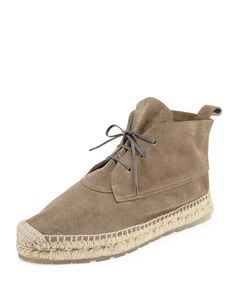 Balenciaga Suede Espadrille Ankle Boot, Gris Galet