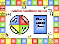 Conflict Resolution Game - This is a fun board game that you can use with your students to teach types of conflict resolution. As students move around the board they choose a conflict resolution card and then spin the spinner to see whether they will act it out the word, draw it, use it in a sentence, or give the definition.