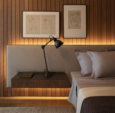 Bedroom Design Idea – An Extra Wide Headboard With Floating Bedside Tables Bedroom Ideas – A light colored padded headboard that's extra wide, not only provides a backdro Contemporary Headboards, Contemporary Bedroom Decor, Modern Master Bedroom, Modern Bedroom Design, Master Bedroom Design, Bed Design, Modern Headboard, Modern Contemporary, Bedside Table Design