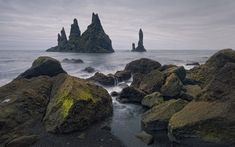 Midnight - Icelandic style. Reynisfjara, Reynisdrangar, Iceland.  Mike Reyfman Photography