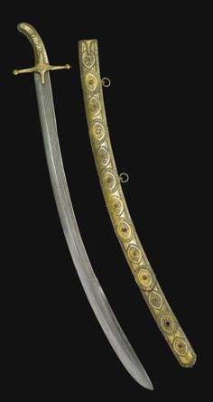 A VERY FINE PRESENTATION SWORD TAKEN AS BOOTY AT THE SIEGE OF SERINGAPATAM, OF EASTERN EUROPEAN MANUFACTURE, LATE 16TH CENTURY the hilt with broad crossguard, elongated forte and bud quillons, incised with foliate decoration at the grip, with a ridged curved steel blade, the scabbard with a row of embossed foliate medallions, each with a colourful stone or glass to centre, two loops for hanging, later engraved at the lock: Taken from Tippoo Saib, Seringapatam, 1799