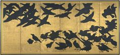Crows, six-panel screen, Japan, Edo period / Eugene Fuller Memorial Collection, Seattle Art Museum. Japanese Bird, Japanese Screen, Seattle Asian Art Museum, Art Japonais, Japanese Painting, Japanese Artists, Bird Art, Traditional Art, Samurai