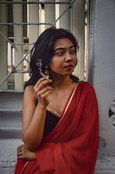 #india #saree #fashion #red #smoke #photography #traditionaloutfit #breakingstreotype #mumbai Smoke Photography, Street Photography, Smoking Photos, Red Smoke, Saree Fashion, Saree Styles, Traditional Outfits, Mumbai, Sari