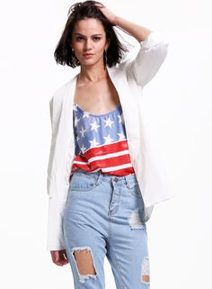 White Lapel Long Sleeve Fitted Blazer 23.89