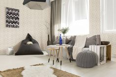Light livng room with bean bag, comfortable sofa, DIY table, window and stylish decorative details , Hygge, Livng Room, Design Simples, Comfortable Sofa, Diy Table, Terrazzo, Interiores Design, Decorating Your Home, Bean Bag Chair