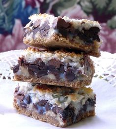 Hello Dolly Squares. I've made these twice now. Extra yumm! Followed the recipe exactly, but the second time used toffee bits instead of nuts. Extra sweet, but super delish! I think I liked them better that way.