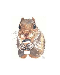 Squirrel with Coffee by Deidre Wicks.