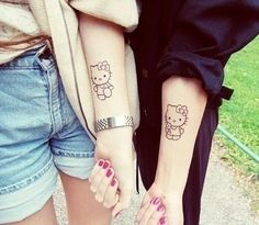 enhanced-buzz-13689-1367250128-3 Bff Tattoos, Best Friend Tattoos, Couple Tattoos, Future Tattoos, Tatoos, Wrist Tattoos, Temporary Tattoos, Freundin Tattoos, Hello Kitty Tattoos
