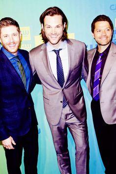 Jensen, Jared and Misha at the CW Upfronts Press Line ~ Supernatural