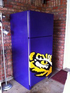 Wall Decal Refrigerator Decal Lsu Tiger Eye by TheCraftyGeeks Lsu Game, Lsu Tigers Football, Louisiana State University, Man Room, Purple Gold, Vinyl Wall Decals, Diy And Crafts, Crafty, Beer Fridge