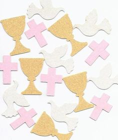Communion Confetti Decorations for Girls in choice of colors with beautiful Pearl Finish Chalices, Doves & Crosses by SetToCelebrate