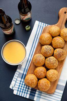 Stuffed Pretzel Rolls with Beer Cheese Sauce