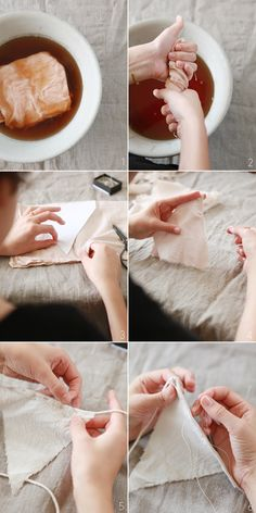 DIY - Tea Dyed Linen Bunting - Photography: Rylee Hitchner + Styling: Ginny Au - via oncewed