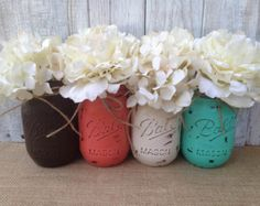 Pint Mason Jars. Brown Coral Cream and Teal. Just add a pop of mustard and perfection.