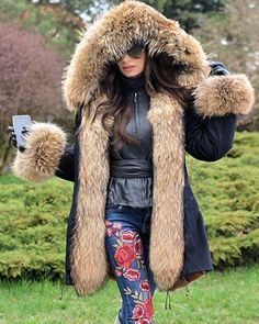 Aox Women Fashion Winter Coat with Faux Fur Hood Thicken Warm Casual Plus Size Outdoor Jacket Parka Hooded Winter Coat, Vintage Winter, Women's Coats, Plus Size Women, Coats For Women, Parka, Hooded Jacket, Winter Camo, Leather Gloves