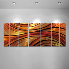 This abstract metal wall art sculpture is made to order. Buy your modern home décor here from the artist. Every metal art panel is made by hand in the
